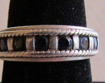 Sterling Silver and Faceted Black Stone Band Ring Size 7 3/4