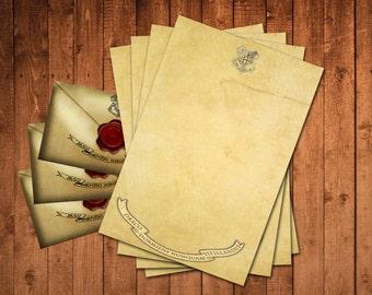 Harry Potter Printable Parchment Paper & Envelopes Instant Downloadable PDF