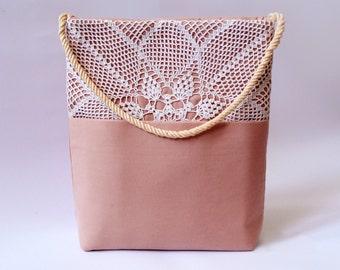 Tote bag / Hand crocheted lace / Hand bag / Unique ladies bag / Vintage bag / Romantic rose lace bag