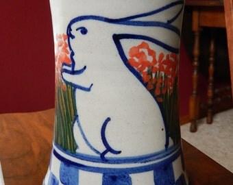 Vintage Cordon Bleu Pottery Rabbit Vase, Debbie Dean, 1980's