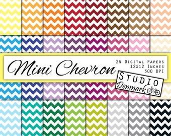 Mini Chevron Digital Paper Value Pack - 24 Mixed Colors - 12x12in 300 dpi jpg - Instant Download - Commercial Use - Chevron Digital Paper