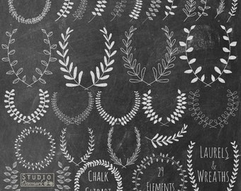 Chalk Laurel Wreath Clipart - Hand Drawn Chalkboard Leaf Branches Clip Art - Laurel Branches Commercial and Personal Use Instant Download
