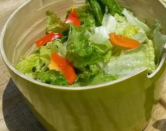 Salad Bowl, 100% Bamboo Salad Bowl, Green Salad Serving Bowl, Deep Salad Bowl, Fruit Bowl, Big Salad Bowl, Handmade Salad Bowl
