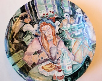"Fine Art Handmade Ceramic Painted with Glazes: ""Luxembourg Dejeuner Platter"", functional and decorative"