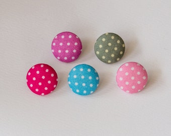 Spotty fabric-covered buttons