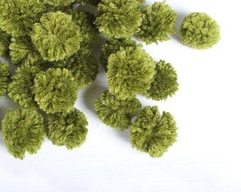 Pom Poms Pack of 50 Pieces Cotton Handmade Thailand Fair Trade (ACC204-OLIVE)