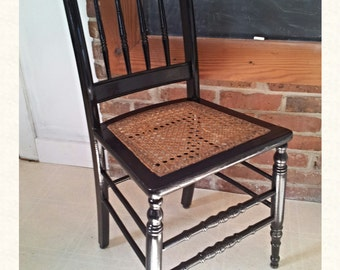 Antique Black Lacquered Chair with Caned Seat