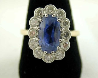18CT Gold Cornflower Blue Sapphire Diamond Cluster Ring Size T 4.90 CTS