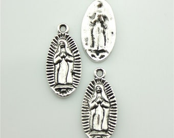 30pcs 23×11mm Virgin Mary charms antique silver tone pendant B10102