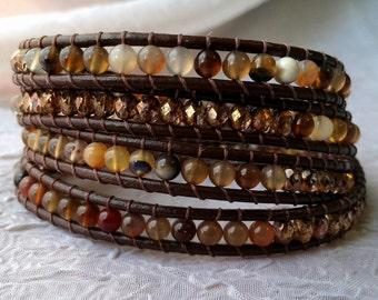 Leather Wrap Bracelet - Agate and Copper - Agate Stone Beads, Copper Glass Beads, Boho Wrap Bracelet, Gypsy Wrap Bracelet