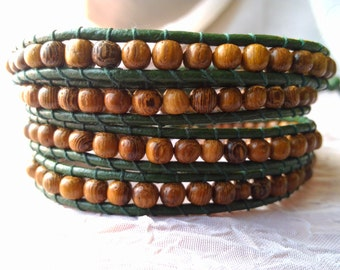 Leather Wrap Bracelet - Wooden Beads (Dark Green Leather Shown) - Boho, Gypsy, Elven Wrap Bracelet