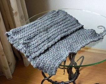 SALE! Handmade crocheted dark grey shawl scarf warm wool with shiny rainbow brocade
