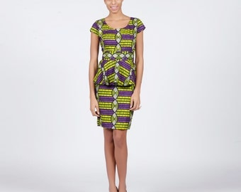 Purple Lime African Print Peplum Dress