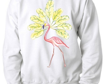 Flamingo and Banana Tree - Sweat shirt white or grey, BySKWT, 100% organic cotton