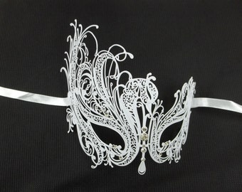 Swan Princess Masquerade Mardi Gras Metal Filigree Mask in White or Black with Clear Crystals