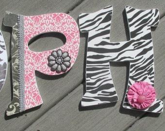Wooden Nursery Letters, paris theme, paris nursery, pink black nursery, pink zebra nursery, nursery name, nursery letters