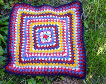 top of cushion gipsy inspiration Bohemia, wool knitted, crochet, sewing