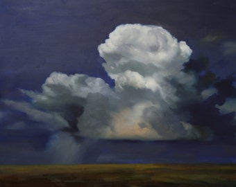 Stunning Original Painting of Clouds over Landscape