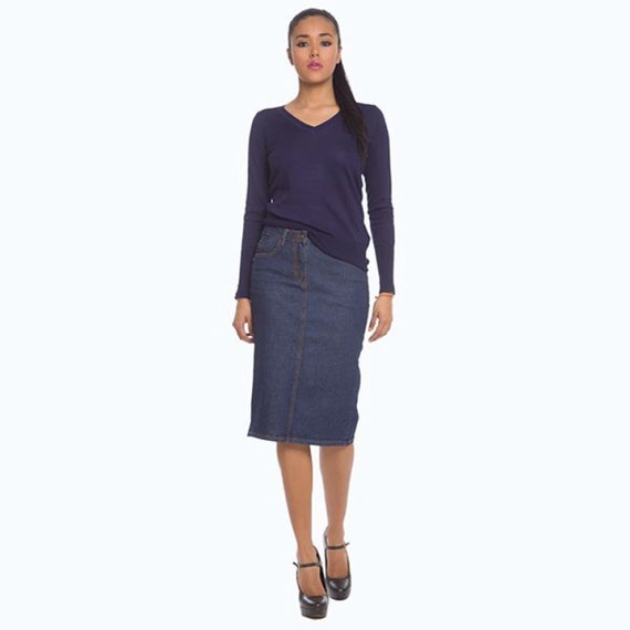 high waisted denim pencil skirt 26 5 inch by chaconiadolls