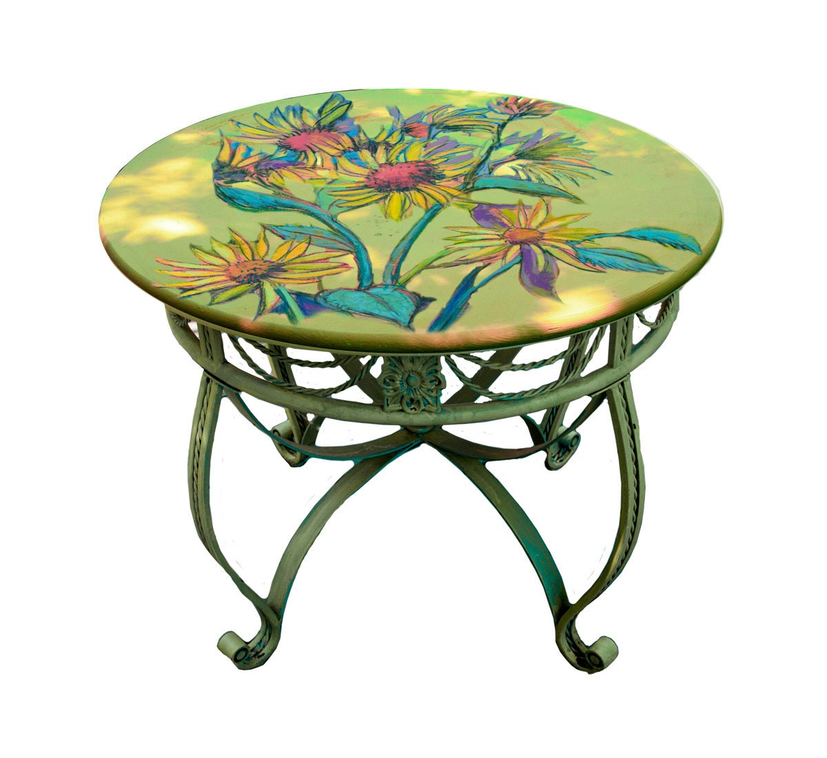36 Giverny Sunflower Table Top Hand Painted Chalk By Dfcollection