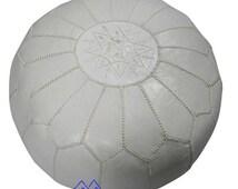 White Moroccan Leather Pouf/Ottoman - Sold UN-STUFFED