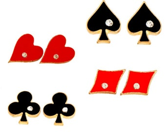 Card Suit Earrings with Rhinestone Embellishment (Hearts, Spades, Diamonds or Clubs!)