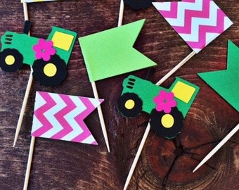 12 Girly tractor Cupcake Toppers