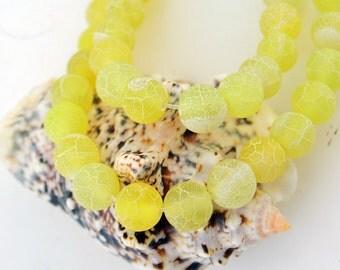 15 Inch Full Strand  Lemon  Yellow  Exotic  Fire  Agate 8MM   Round  Bead