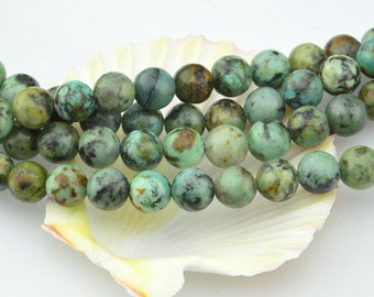 16 Inch  Natural  African Green  Turquoise  6MM  8MM 10MM  Round Bead