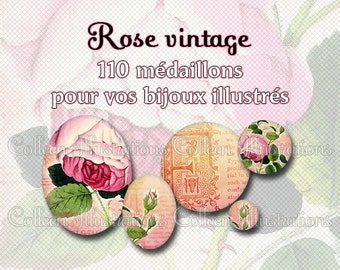 Digital Printable Collage Sheet - Rose vintage