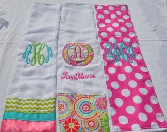 Personalized 3 peice Burp Cloth Set. Monogrammed Burp Clothes