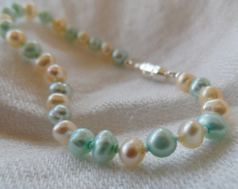 Children's pearl bracelet, genuine 3mm freshwater pearls in soft yellow and aqua
