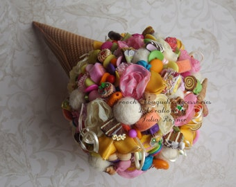 Lollipop wedding bouquet, wedding bouquet bride ice cream cone,