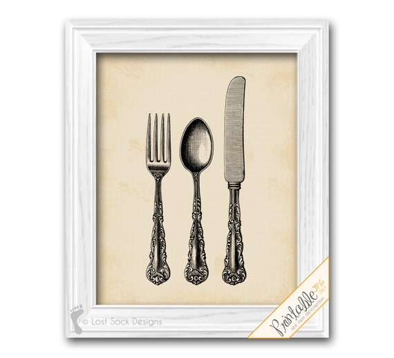 Kitchen dining room wall decor silverware flatware cutlery for Kitchen dining room wall decor