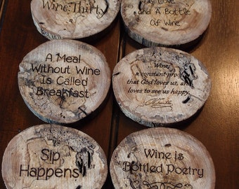 Laser Etched Wine Theme Coasters