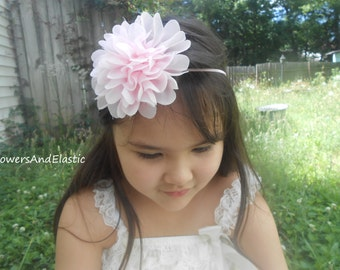 Pink Frayed Chiffon flower Headband, Choose your color,Newborn Headband,  Infant Headband, Headband Baby, Baby Headband