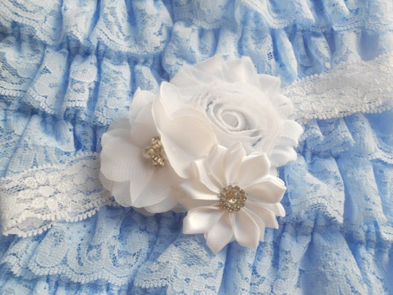 White  flower Baby Headband,baby headband, Newborn Headband,  Infant Headband,Baby Headband, Headband Baby, White Baby Headband