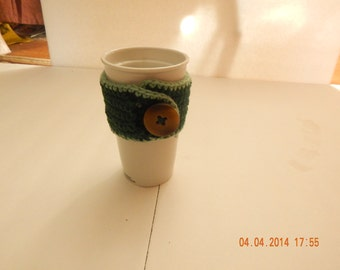 Green Coffee cup cozy with a button