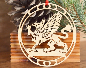 Griffin ornament wood-cut Griffon decoration woodcut Gryphon ornament