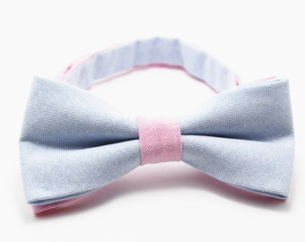 Bow Tie for Men.Light Blue Bow Tie with Pink Strap.Wedding Bow Tie.Prom Bow Tie