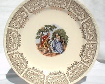 """Crooksville China Ohio SIX 6"""" Bread Dessert Plates CR010 Gold Colonial People in Garden 1940"""
