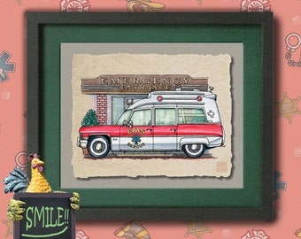 Kid Ambulance Art Cute old Cadilac EMS resuce vehicle  print adds to kids room emergency vehicles as 8x10 or 13x19 wall decor