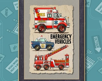 Emergency Vehicles Ambulance Poster Room Decor 13x19 Wall Decor