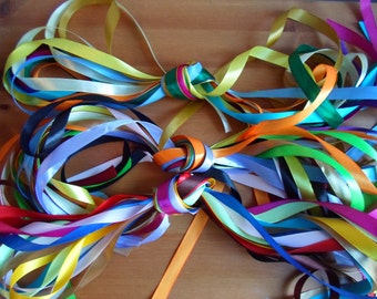 10 x 1 metre lengths assorted satin or organza ribbon,  3mm, 6mm, 12mm, 15mm, 25mm, 38mm, 40mm, 50mm mixed