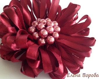 Marsala Brooch/ Flower Brooch/ Statement jewelry/ Flora brooch/ Ribbon jewelry/ Brooch brides/ Ribbon pearl brooch/ Marsala Ribbon brooch