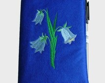 Fabric Notebook Cover in Royal Blue Felt, Embroidered with Harebells Design, Complete with A6 (Small) Notebook and Pen