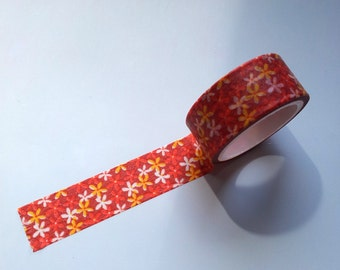 Red washi tape with red, yellow and orange flowers