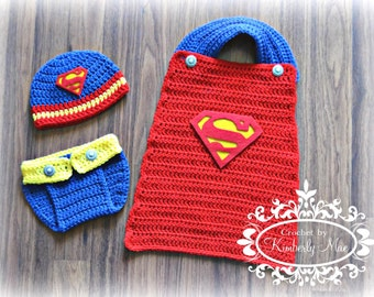 Super Hero Superman Photo Prop/Outfit Newborn to 12 Months Hat, Diaper Cover, Cape