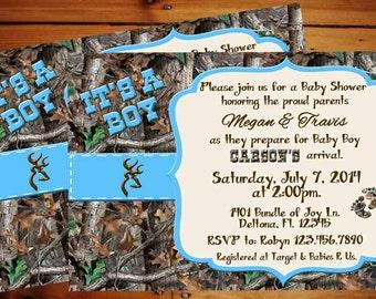 blue camo baby  etsy, Baby shower invitations