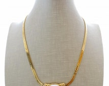 Trifari vintage necklace, white lucite choker, cabochon necklace, golden trifanium, american costume jewelry, uk vintage jewelry, bijoux
